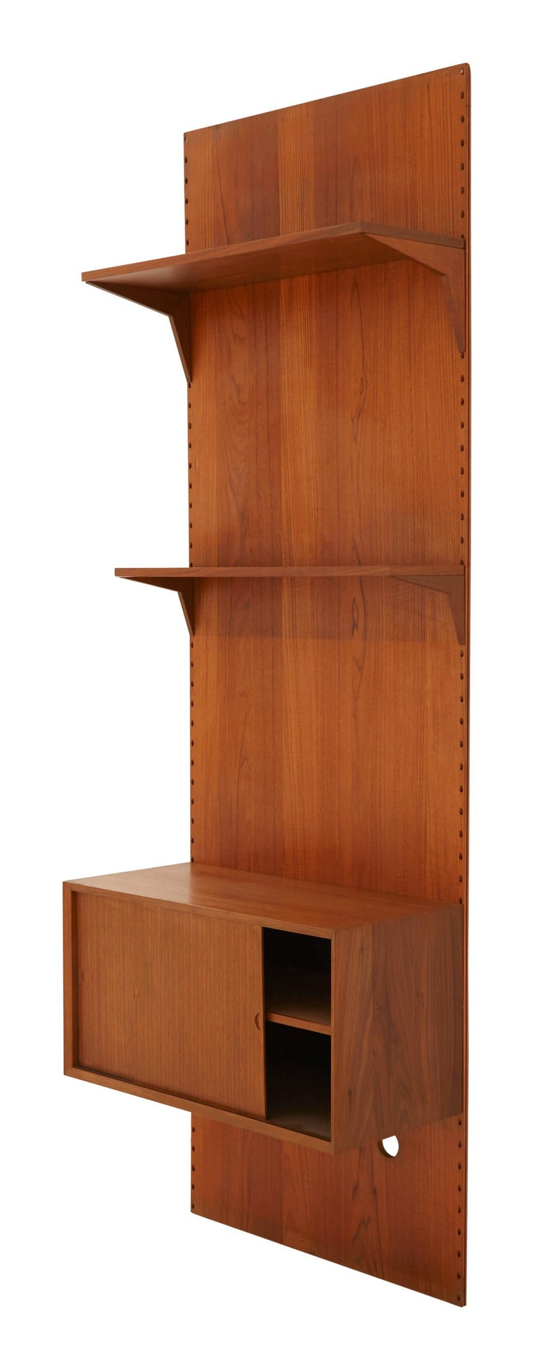 French Midcentury Teak Wall Shelving Unit For Sale