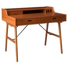 Mid Century Teak Writing Desk by Arne Wahl Iversen for Vinde Møbelfabrik