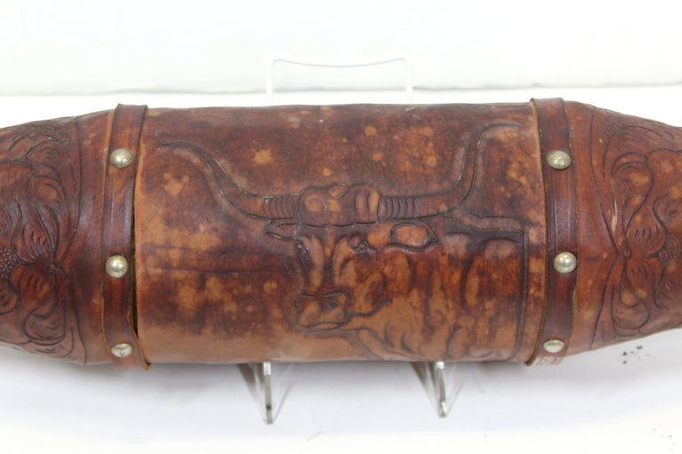 American Midcentury Texas Longhorn Mounted with Tooled Leather For Sale