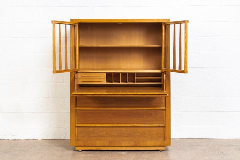 Mid-Century Modern Midcentury T.H. Robsjohn-Gibbings for Widdicomb Walnut Secretary Cabinet, 1950s For Sale