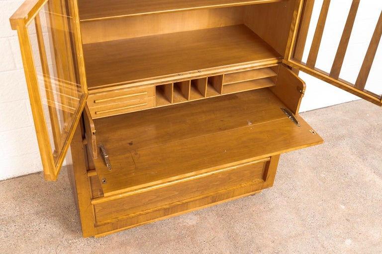 Midcentury T.H. Robsjohn-Gibbings for Widdicomb Walnut Secretary Cabinet, 1950s For Sale 1