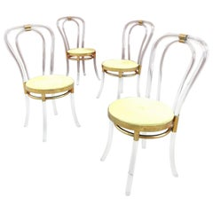 Midcentury Thonet No. 18 Style Bent Lucite and Brass Dining Chairs '4'