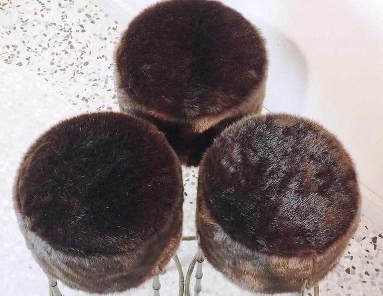 Mid Century Three Brass Stools with Faux Fur by Maison Jansen, France, 1970s For Sale 4