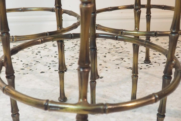 Mid Century Three Brass Stools with Faux Fur by Maison Jansen, France, 1970s For Sale 5