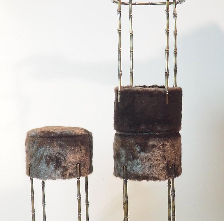 Mid Century Three Brass Stools with Faux Fur by Maison Jansen, France, 1970s For Sale 6