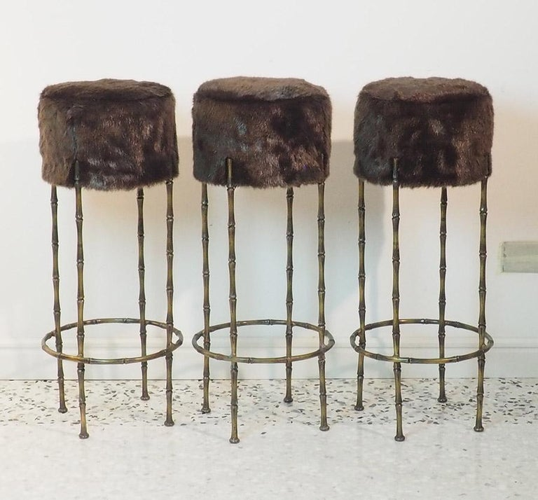Mid-Century Modern Mid Century Three Brass Stools with Faux Fur by Maison Jansen, France, 1970s For Sale