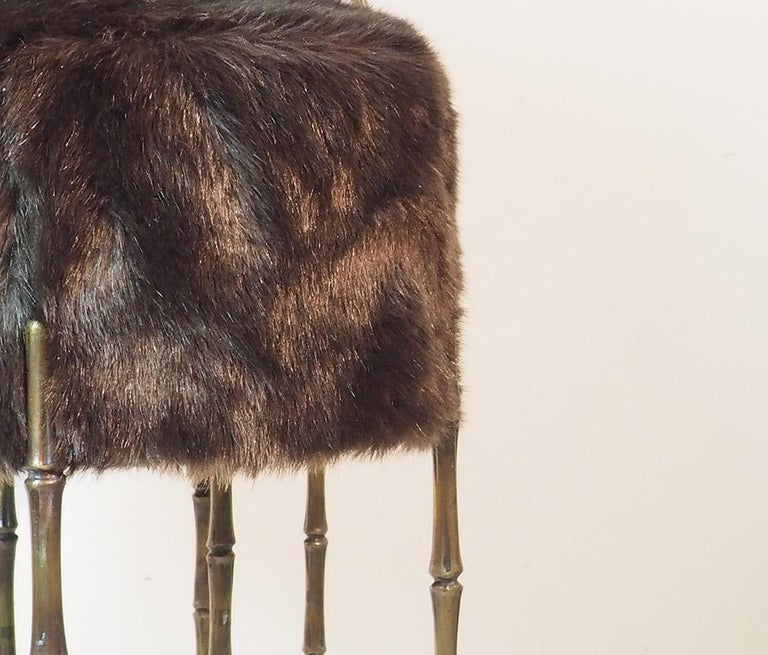 Italian Mid Century Three Brass Stools with Faux Fur by Maison Jansen, France, 1970s For Sale
