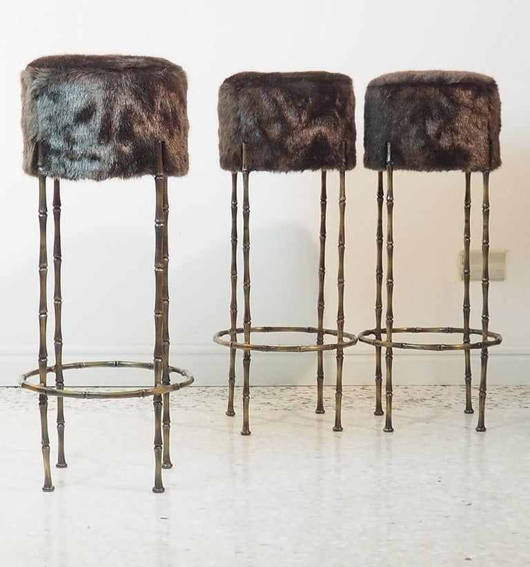Mid Century Three Brass Stools with Faux Fur by Maison Jansen, France, 1970s For Sale 2