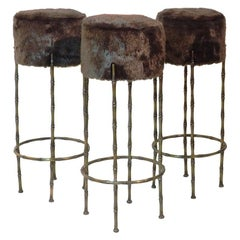 Mid Century Three Brass Stools with Faux Fur by Maison Jansen, France, 1970s
