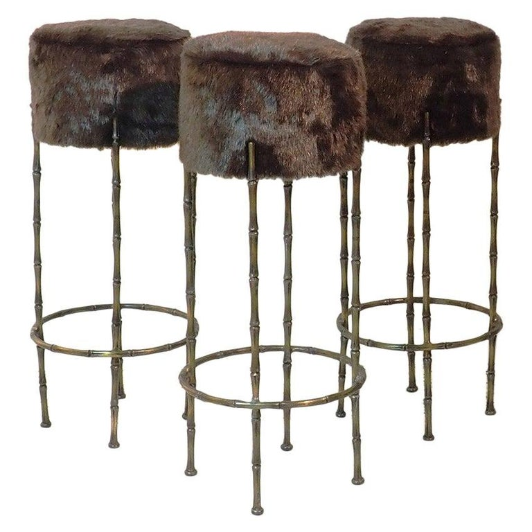 Mid Century Three Brass Stools with Faux Fur by Maison Jansen, France, 1970s For Sale