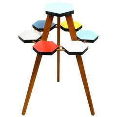 Midcentury Three Legged Wooden Plant Stand Made in the Czech Republic