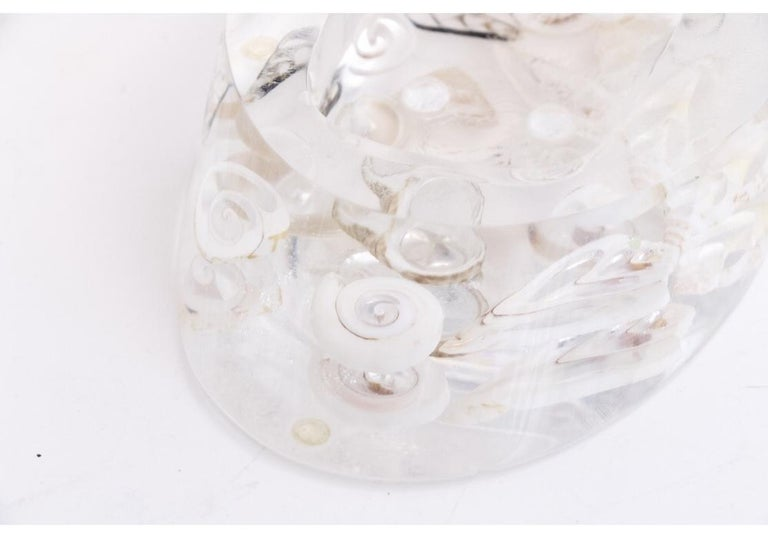 An amazing group of three vintage Lucite accessories for the powder room; wastebasket, tissue holder and soap-dish. Each piece has meticulously embedded slices of pearl shells that add a jewelry like component to the already light filled Lucite