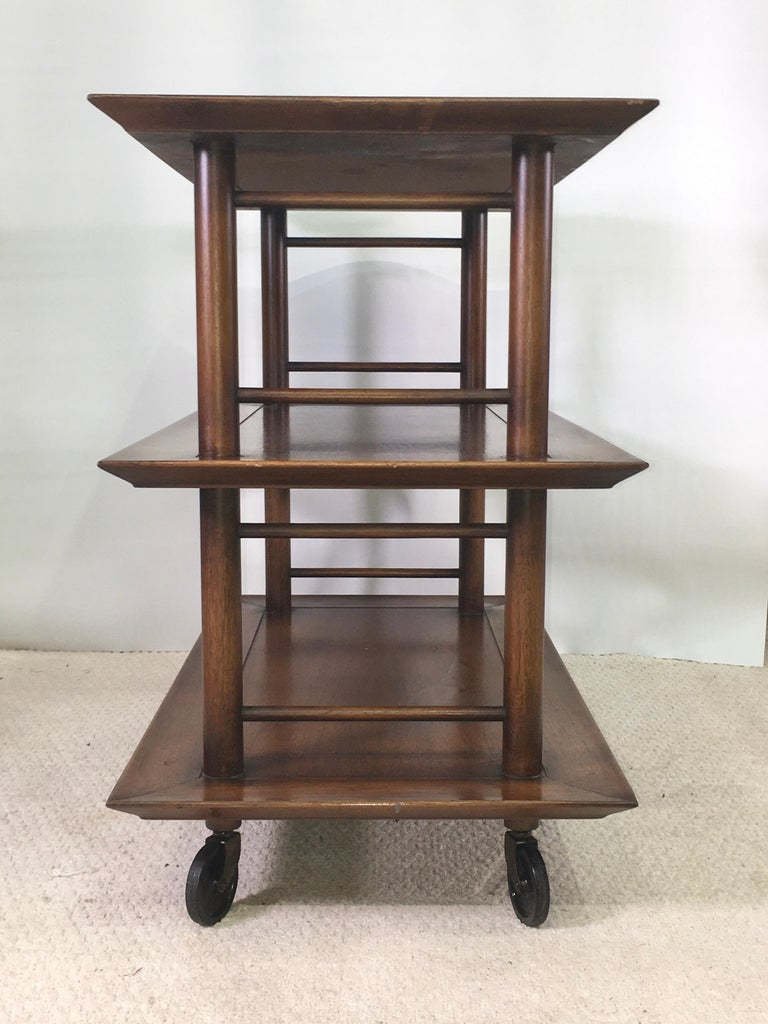 Midcentury Three-Tier Bar Serving Trolley Cart For Sale 3