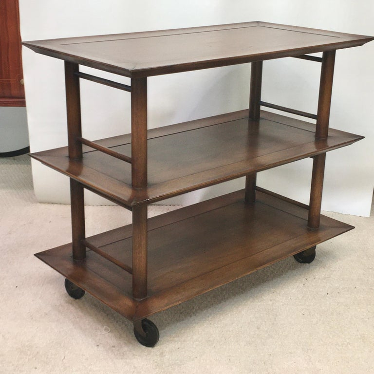 Midcentury Three-Tier Bar Serving Trolley Cart For Sale 8