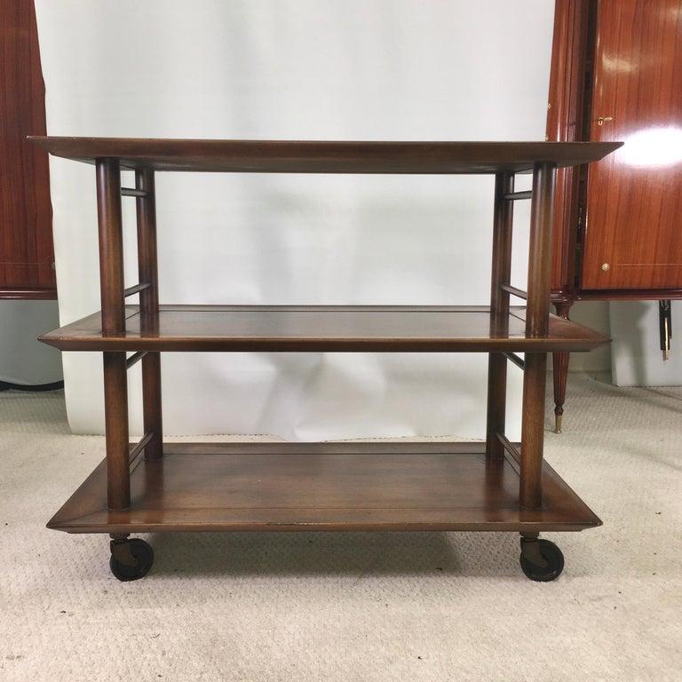 Mid-Century Modern Midcentury Three-Tier Bar Serving Trolley Cart For Sale