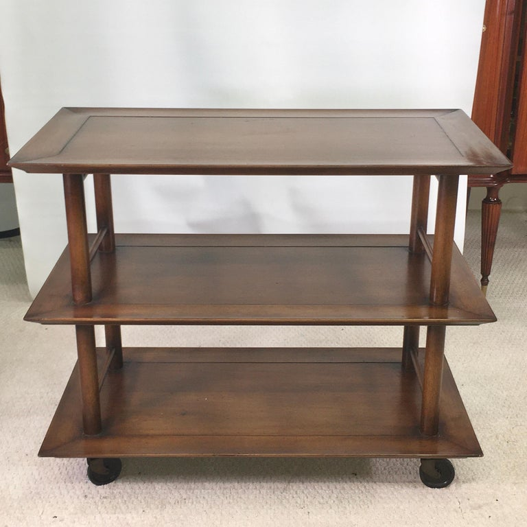 American Midcentury Three-Tier Bar Serving Trolley Cart For Sale
