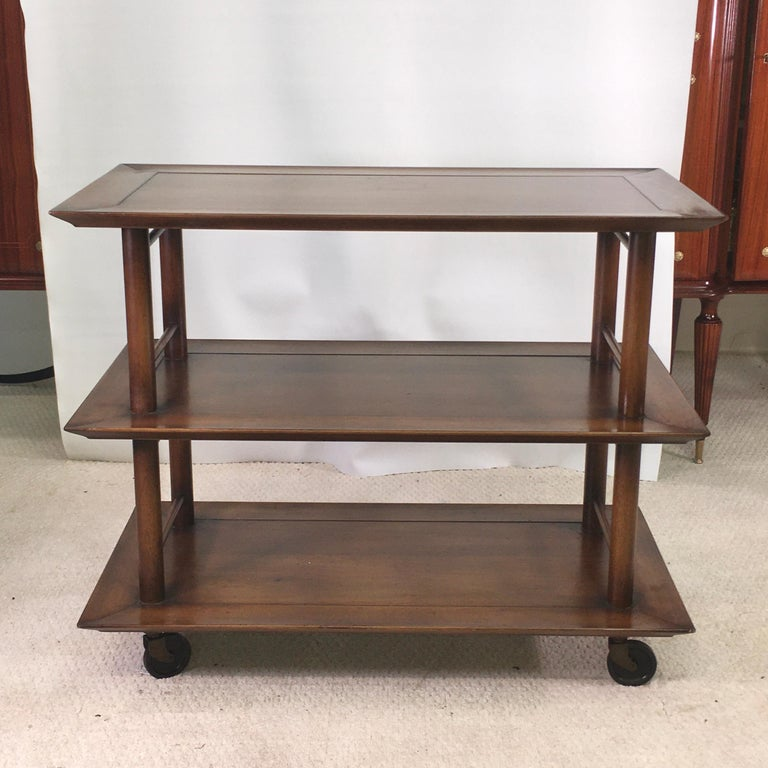 Midcentury Three-Tier Bar Serving Trolley Cart In Good Condition For Sale In Hingham, MA