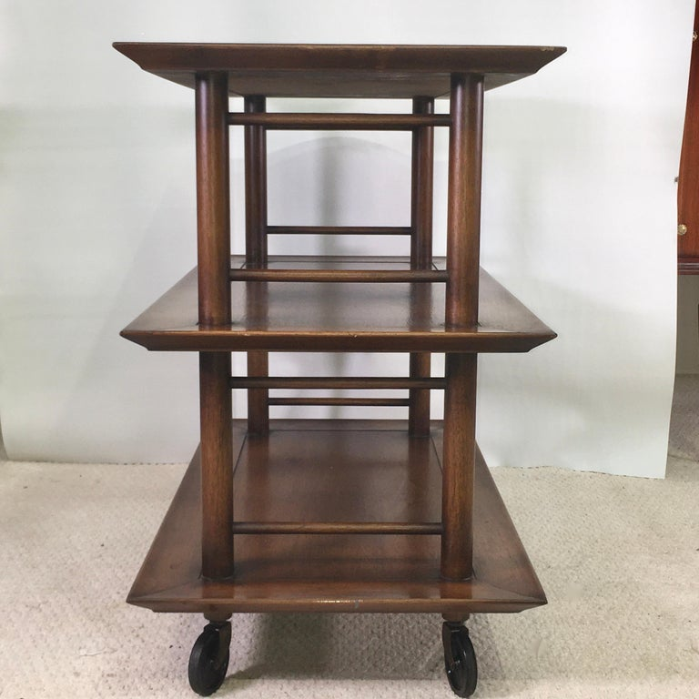 Midcentury Three-Tier Bar Serving Trolley Cart For Sale 2