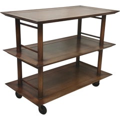 Midcentury Three-Tier Bar Serving Trolley Cart