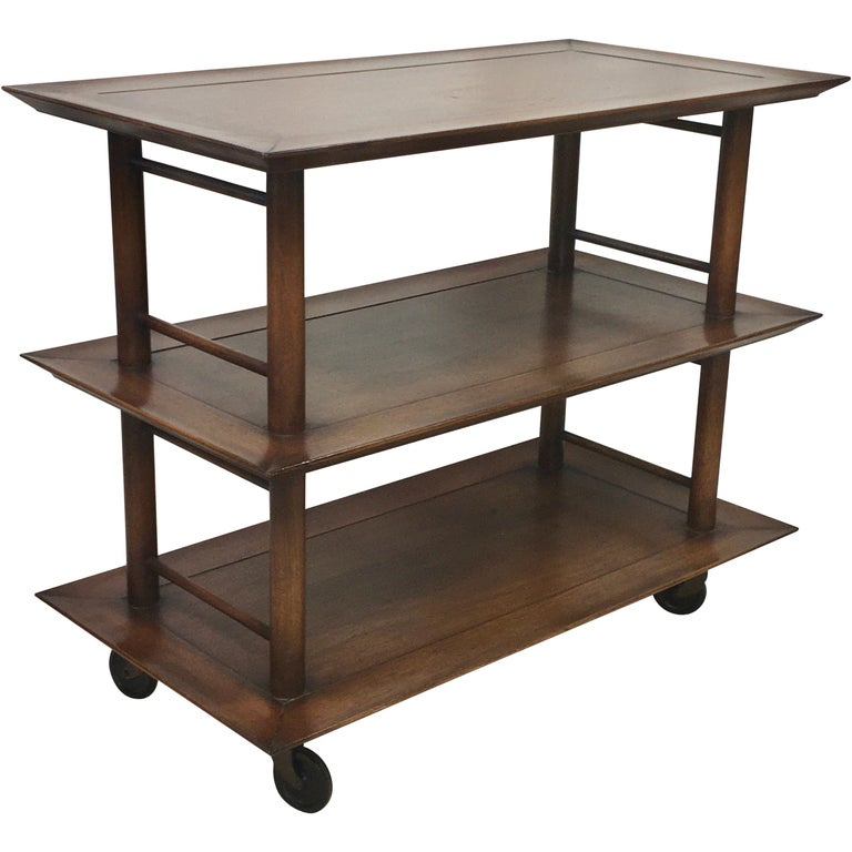 Midcentury Three-Tier Bar Serving Trolley Cart For Sale