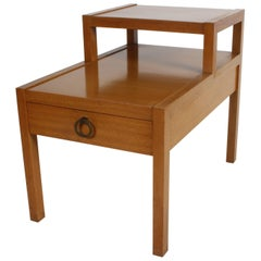 Mid-Century Tiered End Table with Drawer and Ring Pull