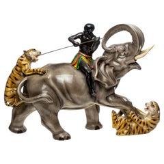 """Mid-Century """"Tiger Attack"""" Large Ceramic Sculpture"""