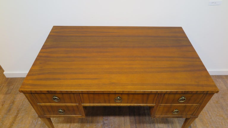 Italian Midcentury Tiger Wood Desk For Sale