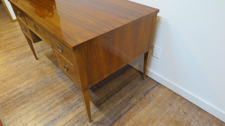Midcentury Tiger Wood Desk In Good Condition For Sale In New York, NY