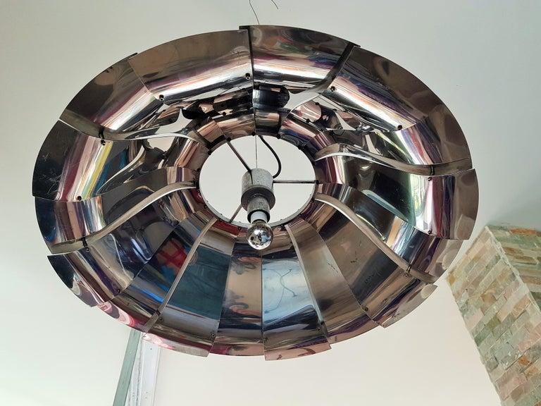 Midcentury Tin Pendant Chandelier Style Reggiani Sauze Monnet, Italy, 1960 In Good Condition For Sale In Saarbruecken, DE