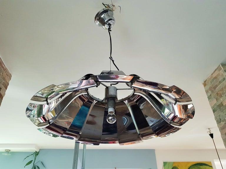 Midcentury Tin Pendant Chandelier Style Reggiani Sauze Monnet, Italy, 1960 For Sale 1