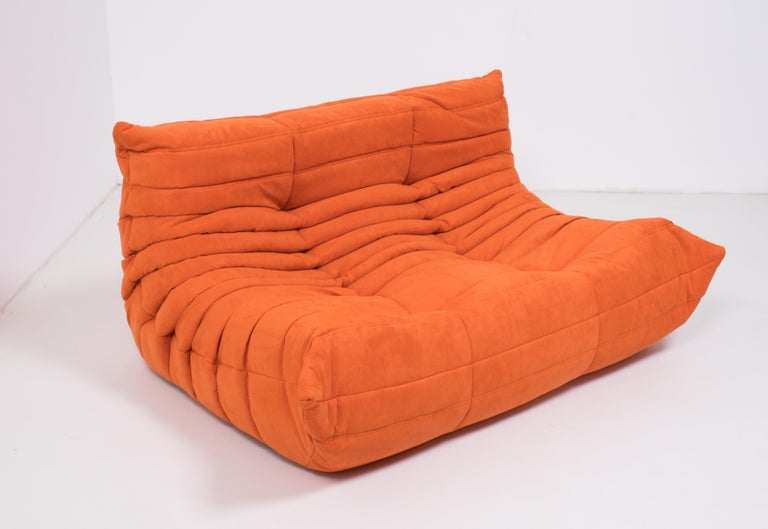 Midcentury Togo Orange Sofa by Michel Ducaroy for Ligne Roset In Excellent Condition For Sale In London, GB