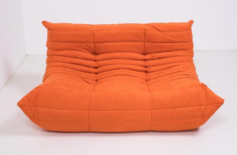 Contemporary Midcentury Togo Orange Sofa by Michel Ducaroy for Ligne Roset For Sale