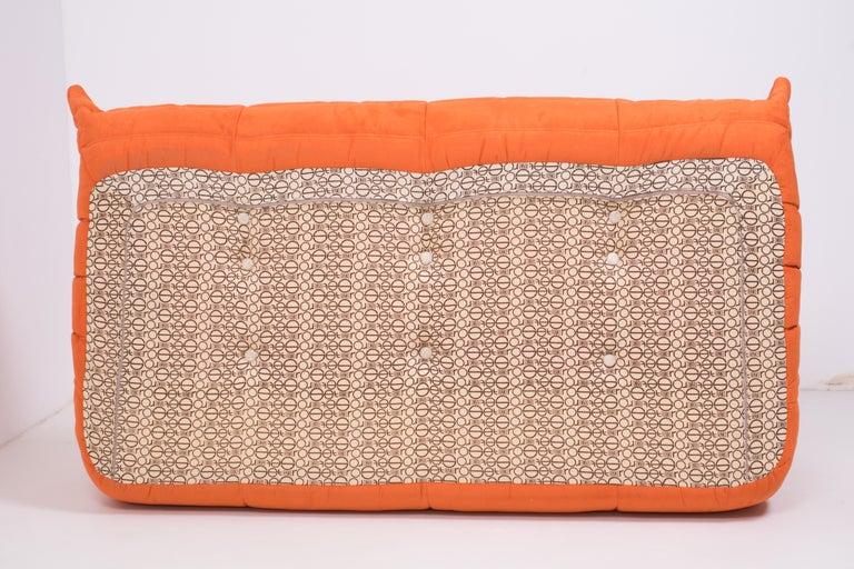 Fabric Midcentury Togo Orange Sofa by Michel Ducaroy for Ligne Roset For Sale