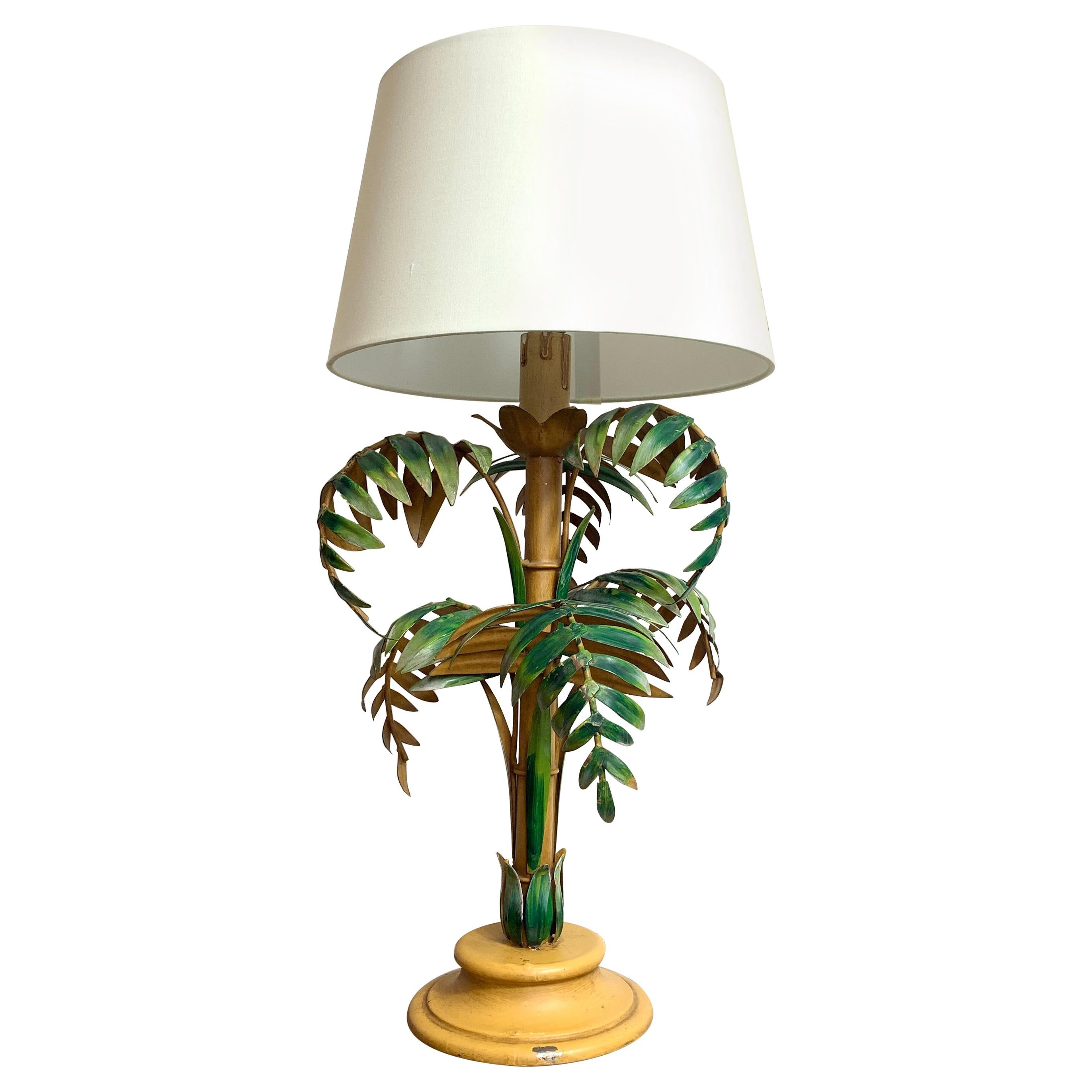 Midcentury, Tole Palm Tree Table Lamp
