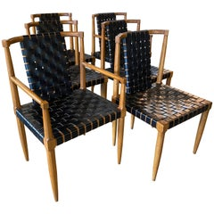 Midcentury Tomlinson Dining Chairs, Woven Black Leather, Set of 6