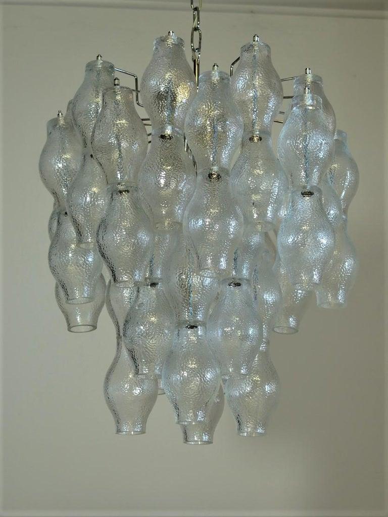 Mid-Century Modern Midcentury Top Quality Murano Vintage Chandelier, 52 Poliedri Glasses