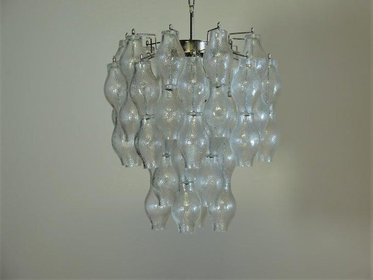 Blown Glass Midcentury Top Quality Murano Vintage Chandelier, 52 Poliedri Glasses