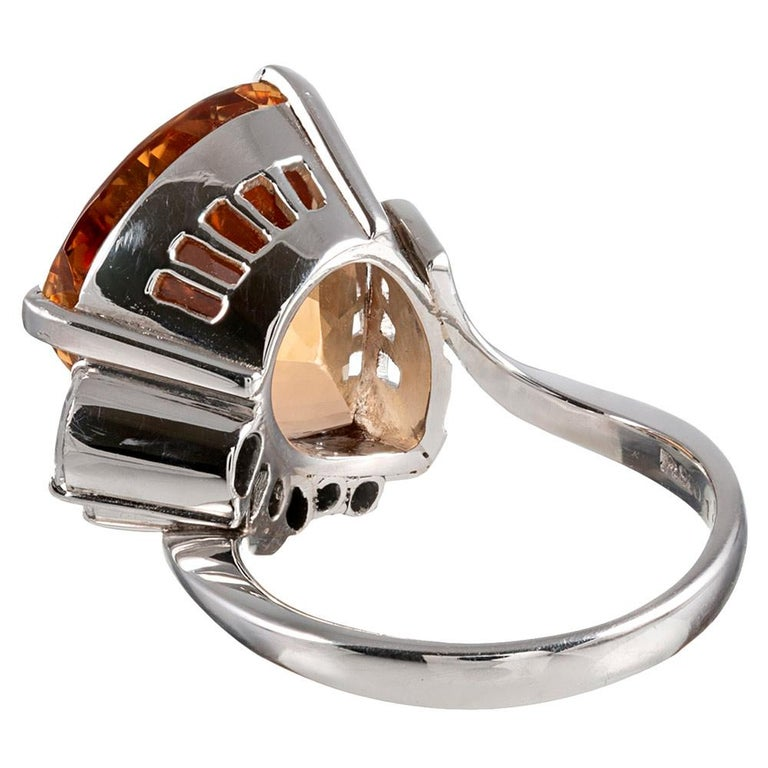 Midcentury Topaz and Diamond Ring In Good Condition For Sale In Carmel-by-the-Sea, CA