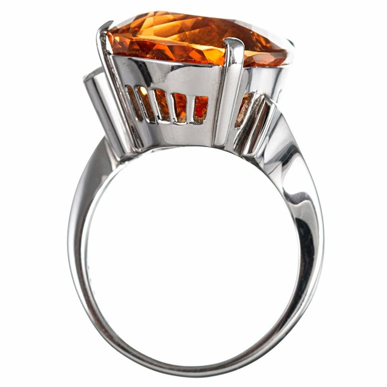 Women's Midcentury Topaz and Diamond Ring For Sale