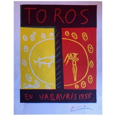"Midcentury ""Toros en Vallauris"" Poster by Pablo Picasso, 1955"