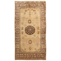 Midcentury Transitional Khotan Beige and Brown Wool Rug with Medallion