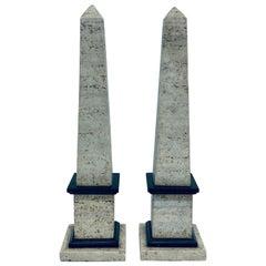 Mid-Century Travertine and Black Stone Obelisks, a Pair