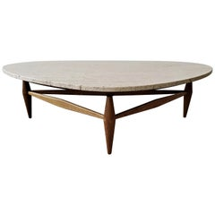 Mid Century Travertine and Oak Coffee Table