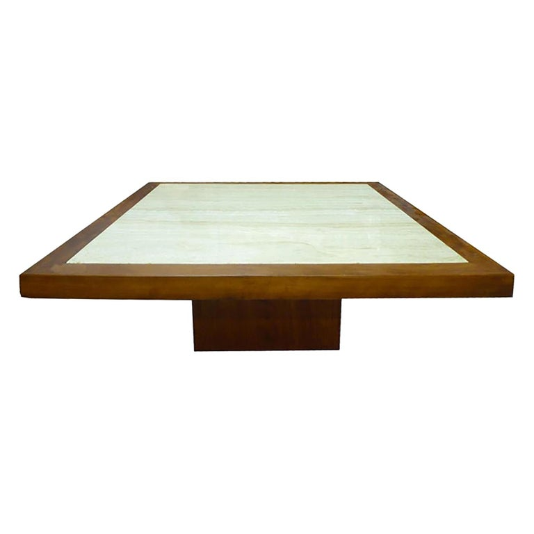 Midcentury Travertine And Wood Coffee Table Circa 1970 For