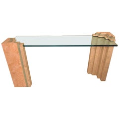 Midcentury Travertine Console Table