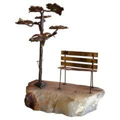 Midcentury Tree Beside Park Bench Sculpture by Mario Jason