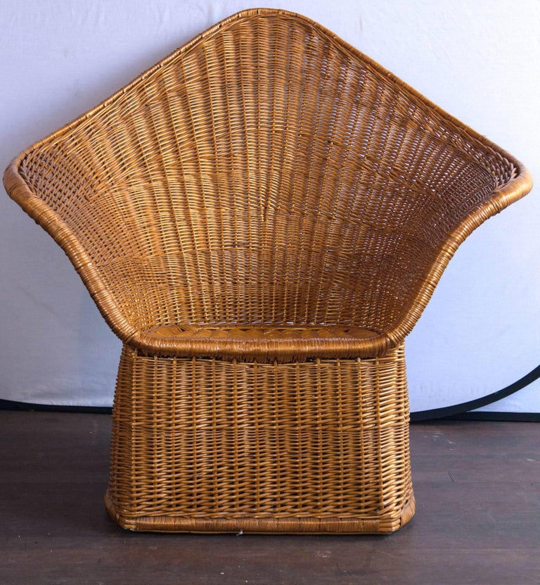Mid-20th Century Midcentury Triangular Wicker Armchair and Ottoman For Sale