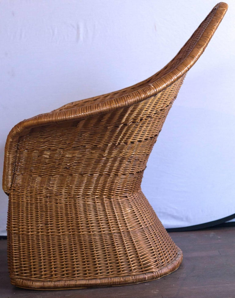 Midcentury Triangular Wicker/Rattan Armchair and Ottoman For Sale 1