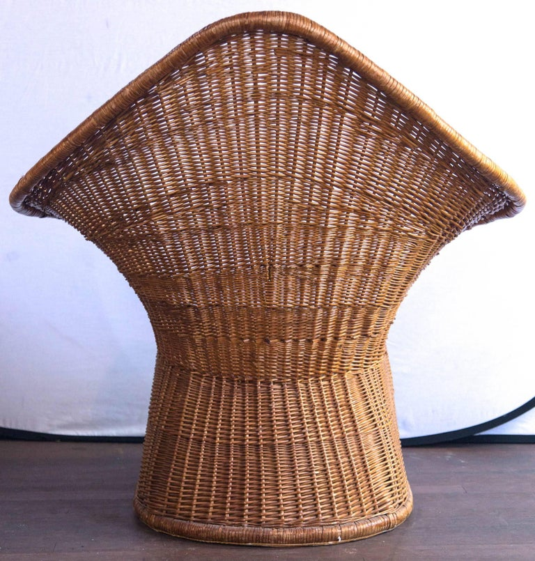 Midcentury Triangular Wicker/Rattan Armchair and Ottoman For Sale 2