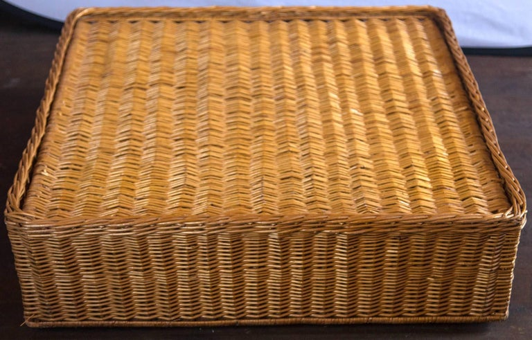 Midcentury Triangular Wicker Armchair and Ottoman For Sale 3